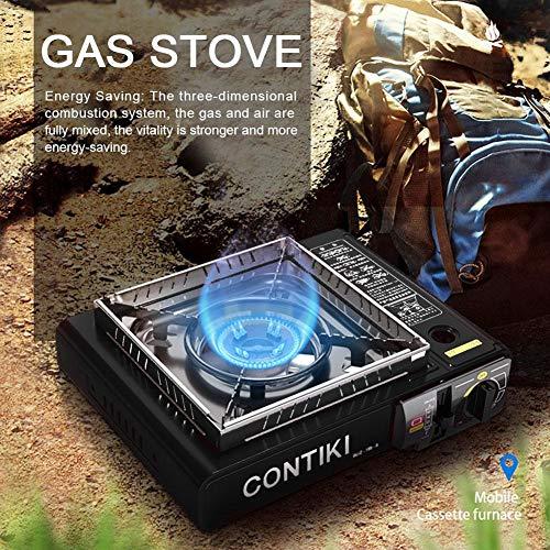 Cineman Draagbare campingkooktoestel met butaan-gaskachel voor camping, picknick buiten, roestvrij staal, voor kinderen