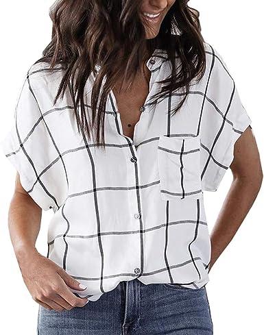 Fossen MuRope Camisa Mujer Verano Fiesta, Blusa con Botones a Cuadros de Manga Corta de Verano Blusas y Camisas de Mujer Elegantes de Vestir Camisa ...