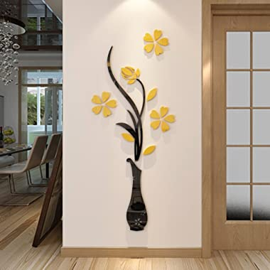 Hermione Baby 3D Vase Wall Murals for Living Room Bedroom Sofa Backdrop Tv Wall Background, Originality Stickers Gift, DIY Wall Decal Wall Decor Wall Decorations (Yellow, 59 X 23 inches)