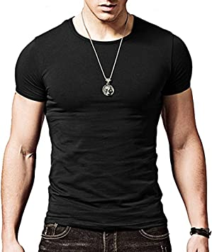 Camiseta negra ajustada de manga cortada con cuello redondo para hombre, de Butterme hombre Modal negro negro large