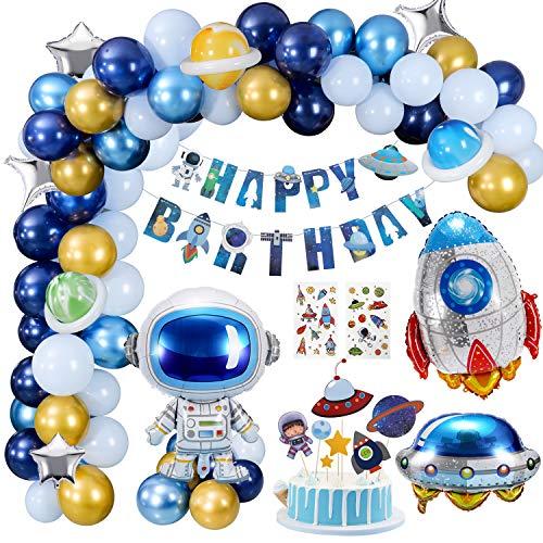 Gafild Globos Cumpleaños Decoracion, Decoraciones de Fiesta temáticas del Espacio Exterior, Astronauta Cohete Globos Foil y Happy Birthday Pancarta Astronauta Globos Látex
