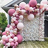 LYEJFF Feliz cumpleaños Paquetes de Globos de Fiesta Decoraciones, Rosa Blanco Oro Globos Paquete Arco para niña cumpleaños Baby Shower Bachelorette Fiesta Decoraciones