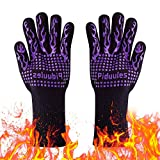 Piduules BBQ Grill Gloves, 1472°F Heat Resistant Non-Slip Grill Mitt with Elastic Cuff for Frying, Barbeque, Cooking, Baking, Oven, Cutting,14 Inch (Purple)