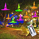 MAOYUE Halloween Decorations Outdoor 9Pcs Hanging Lighted Witch Hat Decorations 36ft Halloween Lights Remote Control Halloween Decor with Timer for Outdoor Halloween Decorations, Tree, Porch, Yard