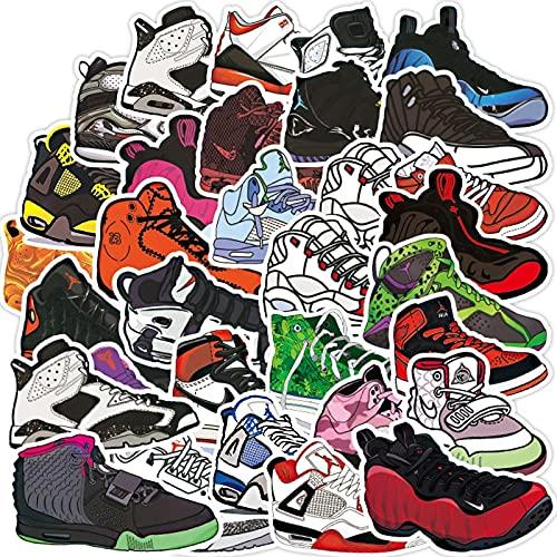 AXHZL Zapatillas de Baloncesto Vintage, Pegatina para Zapatos de Moda, monopatín, portátil, Motocicleta, Pegatina Fresca, Pegatina Impermeable, Juguete clásico para niños, 100 Uds.