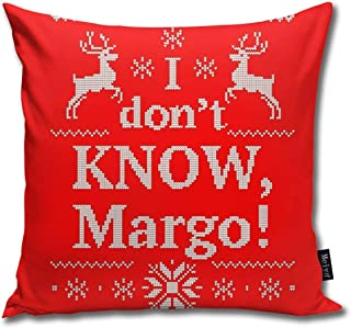 FamilyToy Throw Pillow Cover Case for Bedroom Couch Sofa Home Decor Vintage Christmas Vacation I Don't Know, Margo! Pattern Square 18x18 Inches
