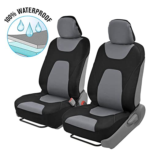 Motor Trend 3 Layer Waterproof Car Seat Covers - Modern Black/Gray Side-less