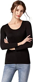 Scoop Neck Long Sleeve T-Shirt Women Tops with Build in Bra Tees Underwear