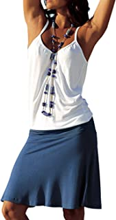 Jusfitsu Women's Summer Casual Dress Strappy Cotton Midi Beach Dresses Print Flare Beachwear Stretchy S-2XL