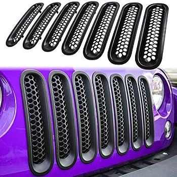 E-cowlboy 7PCS Front Grill Mesh Inserts Clip-in Grille Guard for 2007~2017 Jeep Wrangler JK JKU Unlimited Rubicon Sahara  Matte Black