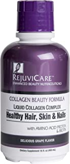 Rejuvicare Liquid Collagen Beauty Formula with Amino Acids, Protein and Biotin, Delicious Grape Flavor, 32 servings