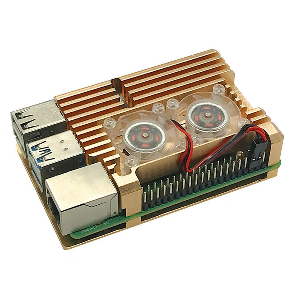 RLTech Caja para Raspberry Pi 4 Modelo B, disipador de Calor para Raspberry Pi 4 Modelo B, Ventilador Raspberry Pi con Estuche Raspberry Pi Compatible con Raspberry Pi 4 Modelo B (ALU-Oro):