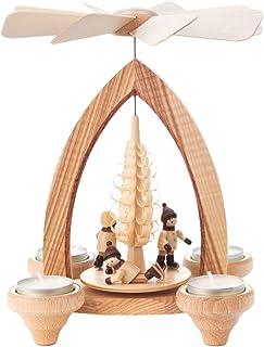 Dregeno Winter Fun Kids Christmas Wood Pyramid - German Made Carousel - 9 Inches Tall