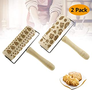 Embossed Rolling Pins-Christmas Wooden Engraved Rolling Pin DIY Tool with Christmas Deer Tree Cookies Pattern for Kids and Adults to Baking Pastry