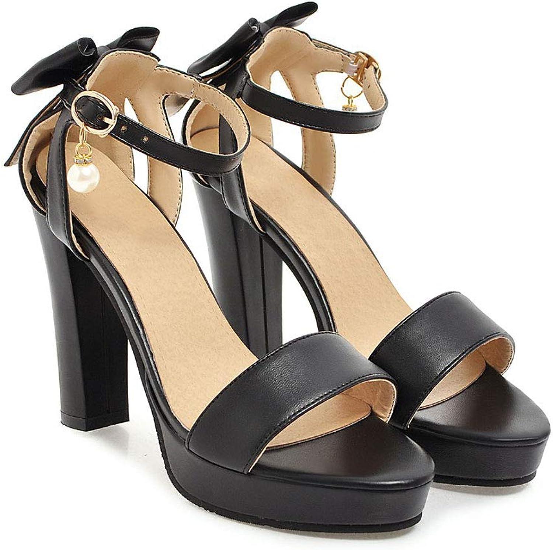 Bow Sandals, High Heels Open Toe Sandals Block Heel Thick Pumps Sandals Summer Ankle Strap Buckle Waterproof Platform Non-Slip Round Head Party Wedding Women's shoes