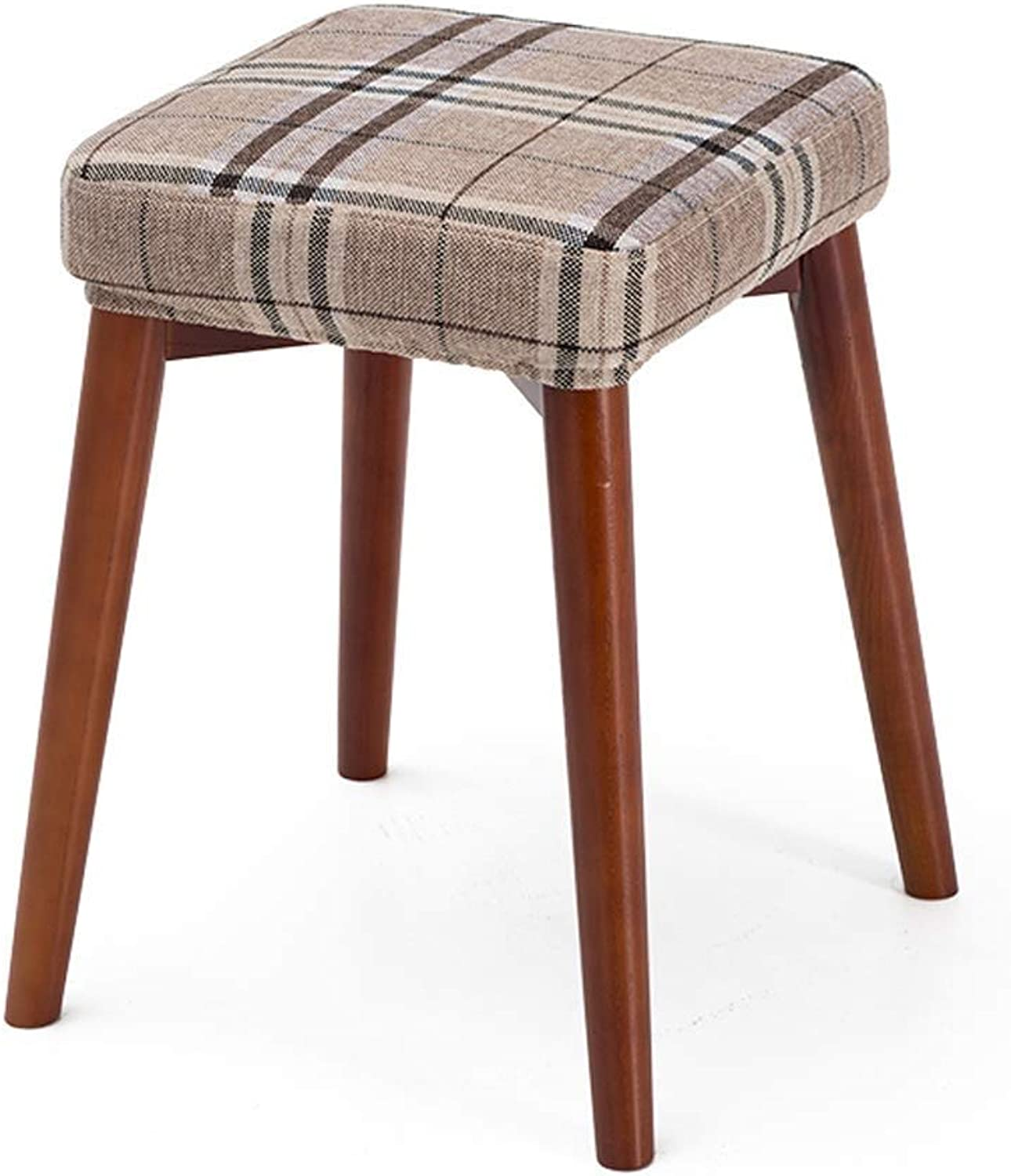 Solid Wooden Dining Stool Square Stool Can Be Stacked Stool Creative Fashion Dressing Stool Cloth Dining Table Stool Household Small Bench, GMING (color   Brown Leg)