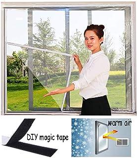 Lona, Película de aislamiento transparente para ventanas A prueba de viento Manténgase caliente Cinta mágica Cortina EVA Balcón Dormitorio Reutilizable, 17 tamaños (Color: Transparente, Tamaño: 1.5x