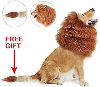 FzJs-J-in Funny Dog Lion Mane Disfraces de Perros Peluca de león con Cola Mascotas Suministros para Fiestas