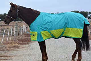 "RUMANI Conquest 1200D with 220G Fill Winter Waterproof Paddock Turnout Horse Rug, 6'9"", Tiffany Blue Top and Parrot Green Bottom"