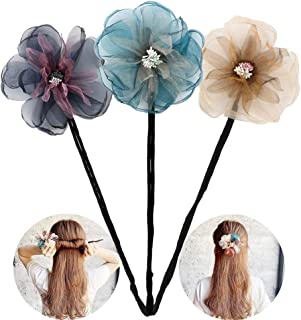 One Step Donut Hair Bun Maker, Women Magic Hair Styling Twist Headband with Translucent Veil Flower for Girl Hairstyle DIY Tool (3 Colors)