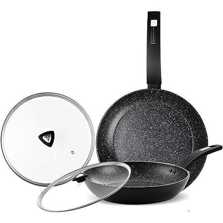 Set Tris Pan High Bavaria Stone Non Stick CM 20 24 28 with lids