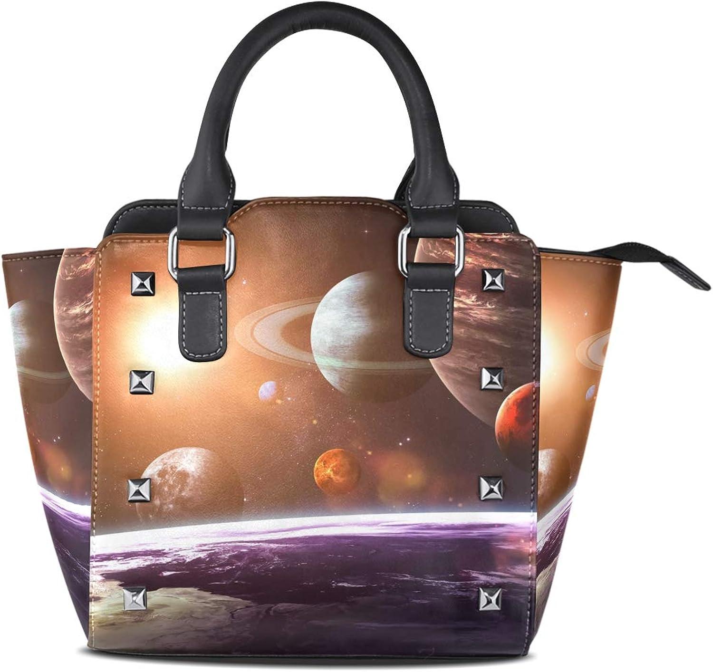 My Little Nest Women's Top Handle Satchel Handbag Solar Space Objects Ladies PU Leather Shoulder Bag Crossbody Bag