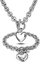 Heart Pendant Necklace and Bracelet Chain Stainless Steel Silver Drop White Jewelry Set