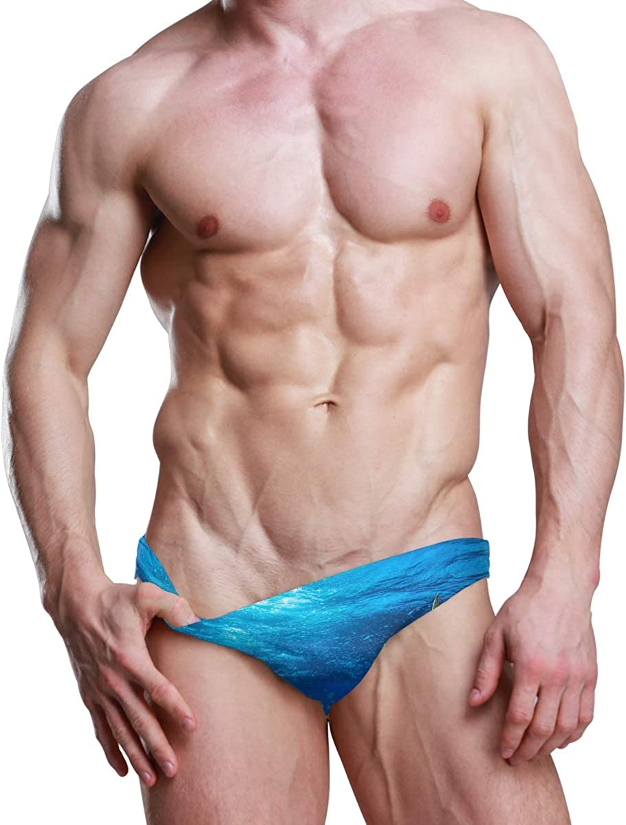 ALAZA Men's Underwater Blue Swim Briefs Swimsuit Bikini Drawstring Swimwear Sexy Bathing Suit S-3XL