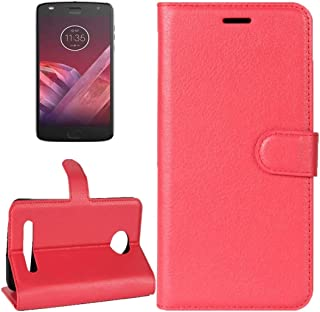 For Motorola Moto Z2 Play Litchi Texture Horizontal Flip Leather Case with Holder & Card Slots & Wallet (Black) (Color : Red)