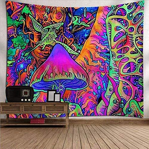MWTWM Wandteppich Wandbehang Tapisserie Tapestry Wall Hanging, Trippy Psychedelic Hippie Boho Bunte Pilze Wald Wandteppiche, Zimmer Dekor Kunstdruck Gewebe Für Wohnzimmer Schlafzimmer
