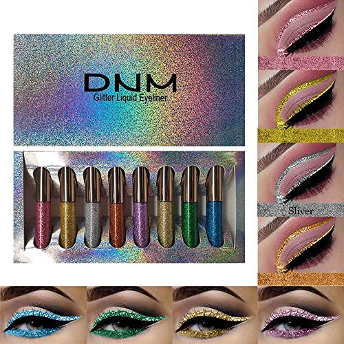 8Pcs Liquid Glitter Eyeliner Set,8 Colors Glitter Silver Liquid Eyeliner Long Lasting Waterproof Shimmer Sparkling Blue Metallic Colorful Eyeliner Kit, Waterproof Shimmer Glitter High Pigmented Brighten DNM Eyeshadow(Set 01)