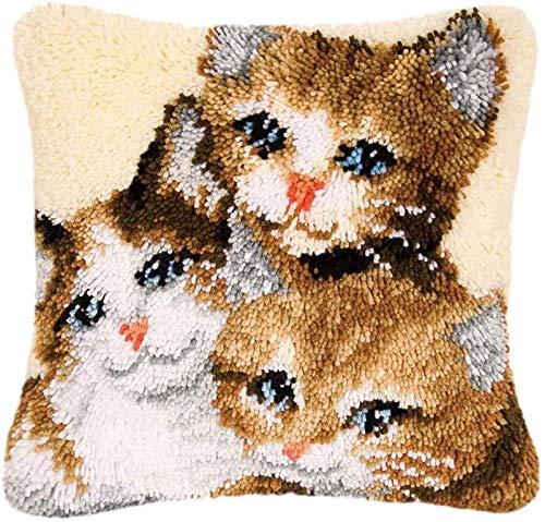 QAZWSX Crochet Kit DIY Tierthema-Teppich-Kissen Häkeln Pillowcase Teppich Verriegelungshaken-Kits, for Kinder/Erwachsene Anfänger handgefertigt (Color : BZ-260)