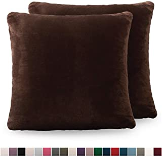 The Connecticut Home Company Original Velvet Pillowcases, Set of 2 Solid Decorative Case Sets, Throw Pillow Covers, Luxury Soft Cases for Bedroom, Living Room, Sofa, Couch, Bed, 18x18, Brown