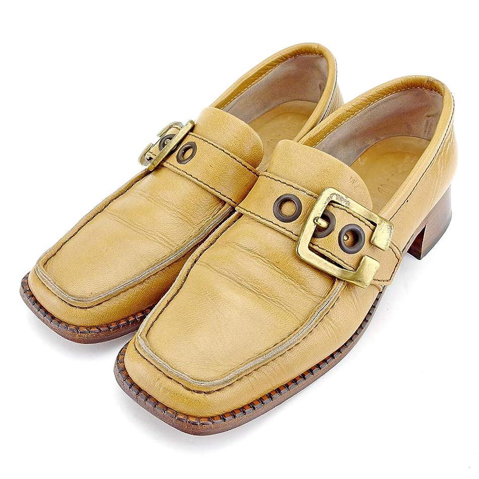 ここにジョグどう?[ミュウミュウ] miu miu ローファー シューズ 靴 レディース ?37ハーフ スクエアトゥ ベルトデザイン 中古 B1074