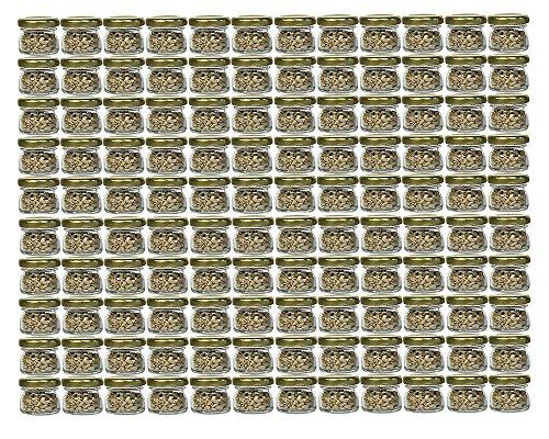 120er Set Sturzgläser Mini Gläser   Füllmenge 30 ml   Deckelfarbe Gold   To 43 Rundgläser Marmeladengläser Obstgläser Einweckgläser Honig Gläser Einmachgläser Portionsgläser Probiergläser Imker
