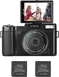كاميرا رقمية Andoer Vlogging Camera Digital Camera R1 1080P 15fps Full HD 24MP 3.0/ Flip Screen Camcorder Anti-Shake 4X Digital Zoom Flashlight w/UV Filter 2PCS Li-ion