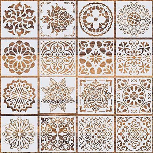 Wedong 16 Pcs (6 x 6 Inch) Reusable Stencils, Mandala Stencils Mandala Dot Painting Templates Stencil for DIY Painting Art Scrapbook