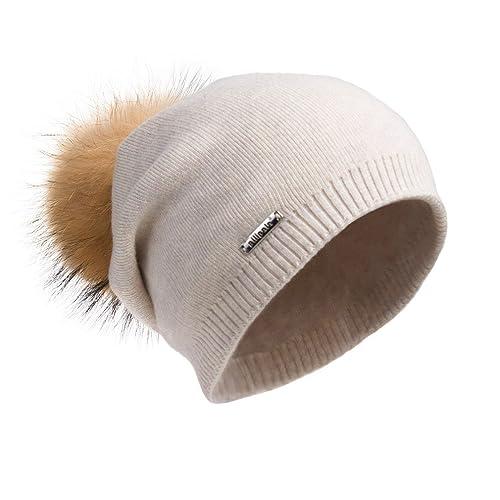 79c4a28356b Pilipala Women Oversized Slouchy Beanie Bobble Hat by with Fur Pompom  VC17601