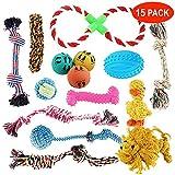 15Pcs Haustier Hundespielzeug Set - Seilen, Bällen, Chew Interaktives Kauspielzeug - Perfekt für...