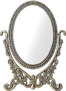 Miroir ZM De Maquillage De Courtoisie De Bureau À Cadre Métallique Ovale Simple Multifonctionnel Rétro-Rotatif À 360 Degrés