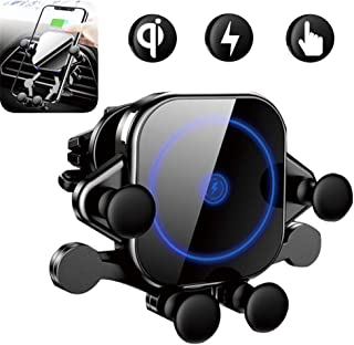TIMESS Wireless Car Charger Mount Adjustable Gravity air Vent Phone Holder auto Clamping Fast Charging Charger Compatible with iPhone Samsung Huawei Nexus Moto HTC Sony Nokia and Qi Certified Android