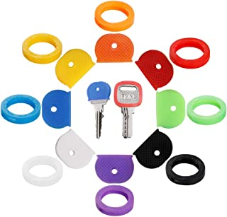 16PCS Key Caps Covers Tags, Key Cap Key Ring Combination Key Identifier Label ID Perfect Coding System to Identify Your Ke...