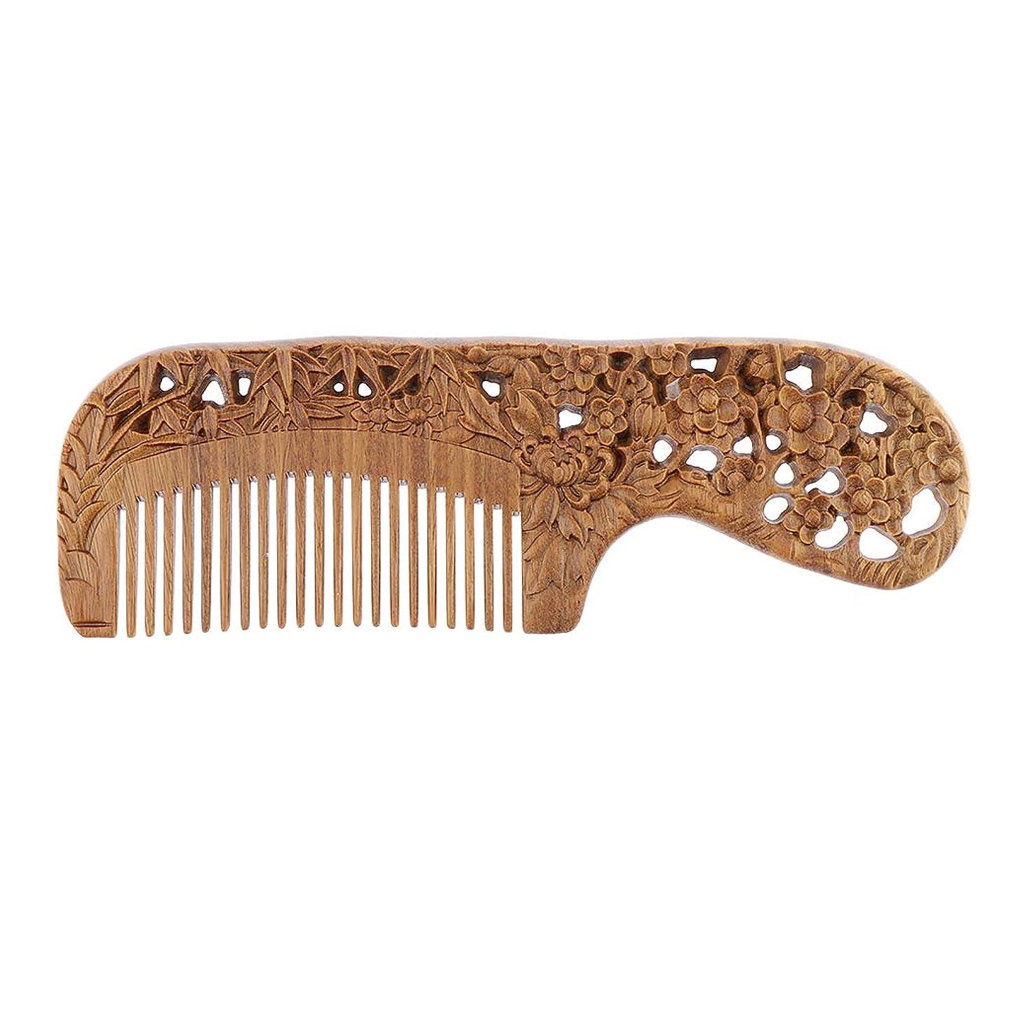信頼できる抵当放置B Blesiya 手作り 木製櫛 ヘアブラシ ヘアコーム 頭皮マッサージ レトロ 4タイプ選べ   - 17.8 x 5.6 x 11.5 cm