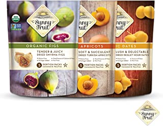 ORGANIC Dried Fruit Assortment - Sunny Fruit Dates, Figs & Apricots (3 Bags) - (5) 1.76oz Portion Packs per Bag - NO Added...