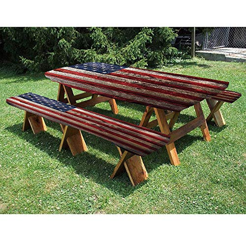72quot Polyester Picnic Table and Bench Fitted TableclothFourth of July Independence Day Weathered Retro Wood Wall Looking Country Emblem 3Piece Elastic Edged Table Cover for ChristmasPartiesPicnic