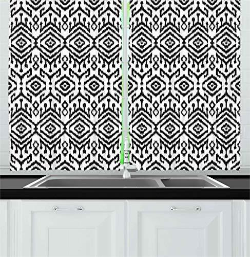"Ambesonne Black and White Kitchen Curtains, Monochrome Ikat Pattern Bohemian Chevron Modern Scribble Print, Window Drapes 2 Panel Set for Kitchen Cafe Decor, 55"" X 39"", White Charcoal"