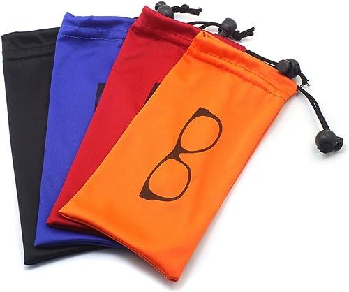 Global Glasses (4 PCS) Pochette de rangement souple avec verrouillage de perle pour lunettes, cosmétiques, stylo, clé...