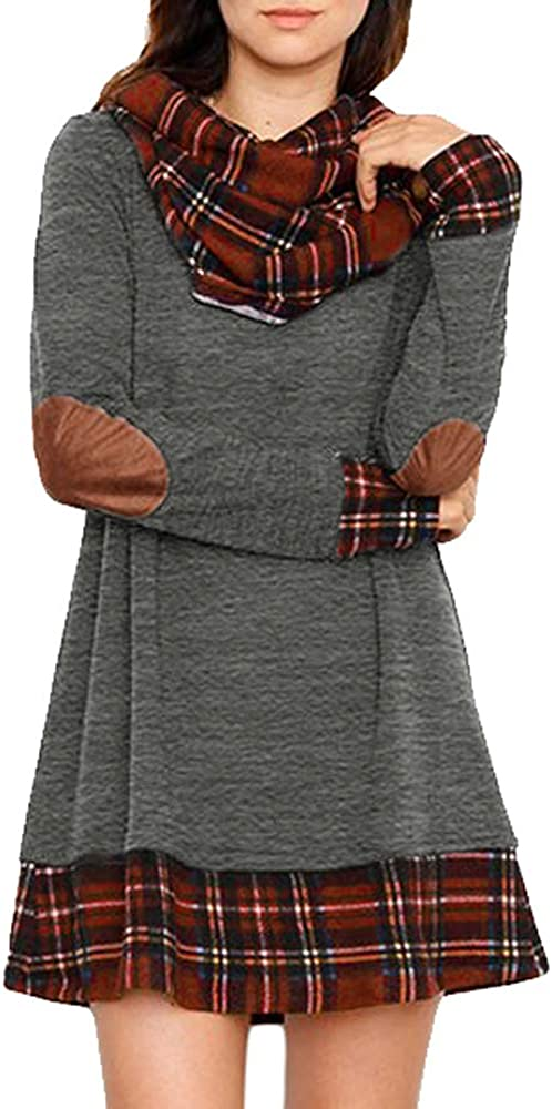 Super special price Alaster Queen 35% OFF Women's Cowl Neck Long Elbow Ca Sleeve Plaid Patch