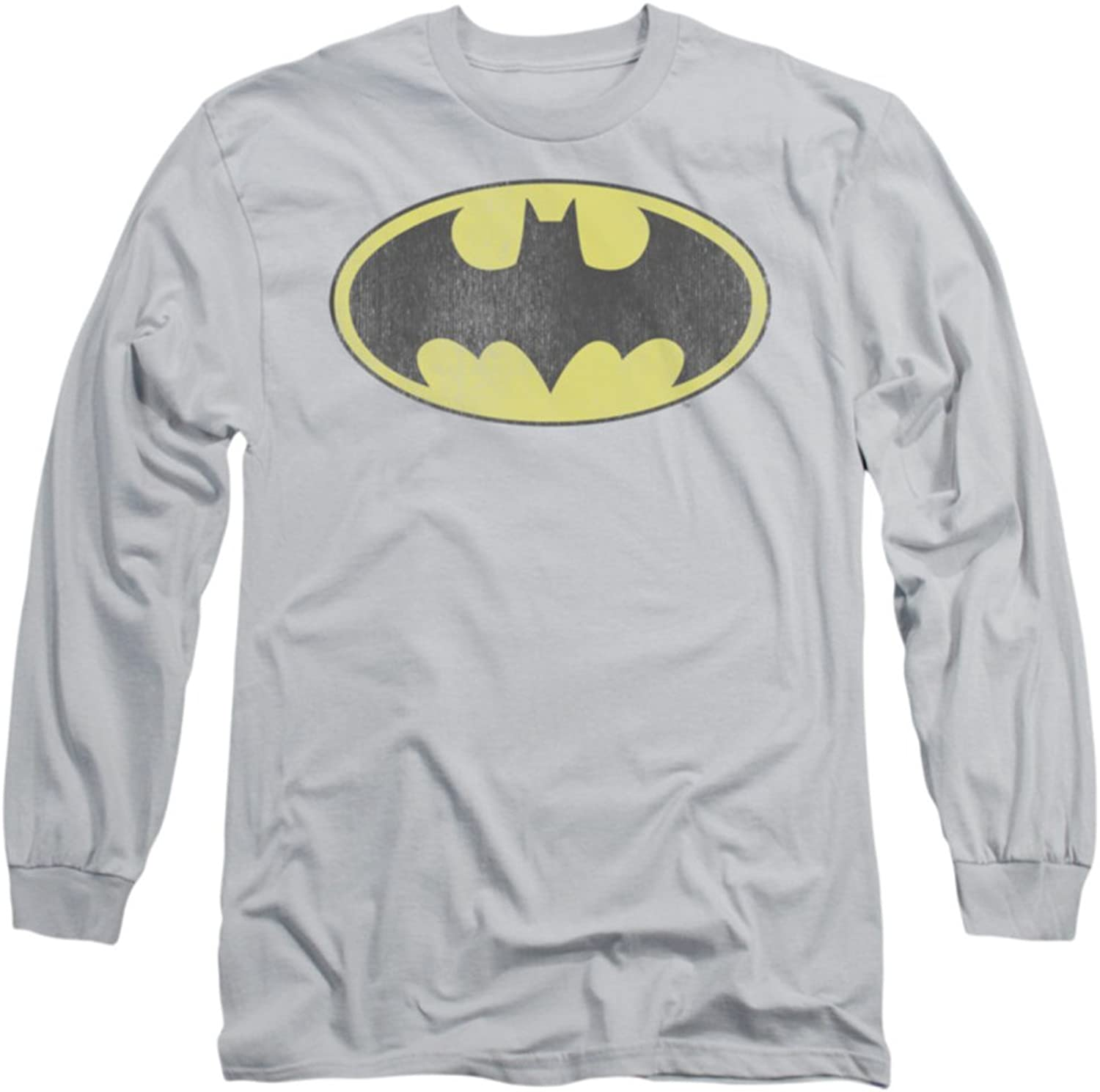 DC Retro Bat Logo Distressed Officially Licensed Adult Long Sleeves T Shirt