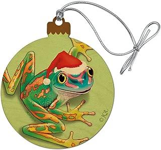 GRAPHICS & MORE Santa Hat Rainforest Christmas Tree Frog Wood Christmas Tree Holiday Ornament